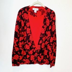 Vintage Cathy Daniels Red Floral Layered Cardigan